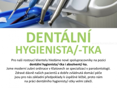 Hledáme dentální hygienistku/-tu