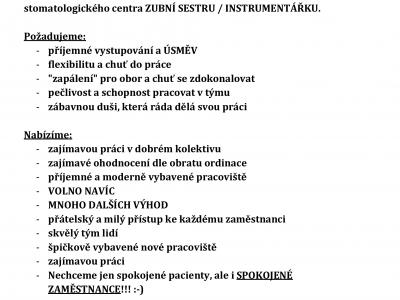 ZUBNÍ SESTRA / INSTRUMENTÁŘKA plný úvazek v BRNĚ