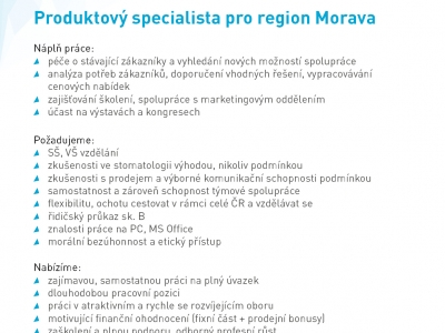 Produktový specialista pro region Morava
